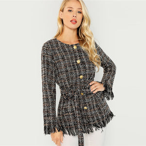 Black Single Breasted Button Coat