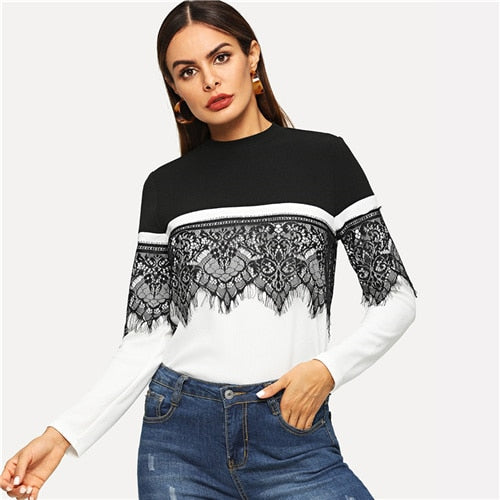 Black & White Lace Applique Sweater