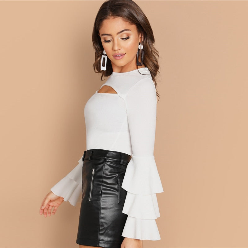 White Front Cut Tiered Sweater
