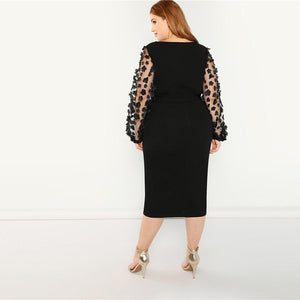 Black Elegant Pencil Dress (Plus Size)