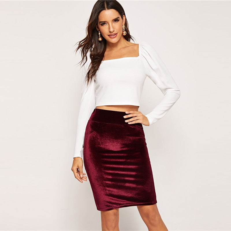 Burgundy High Waist Skirt