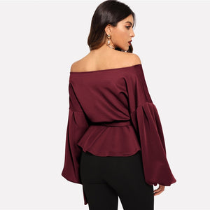 Burgundy Peplum Blouse