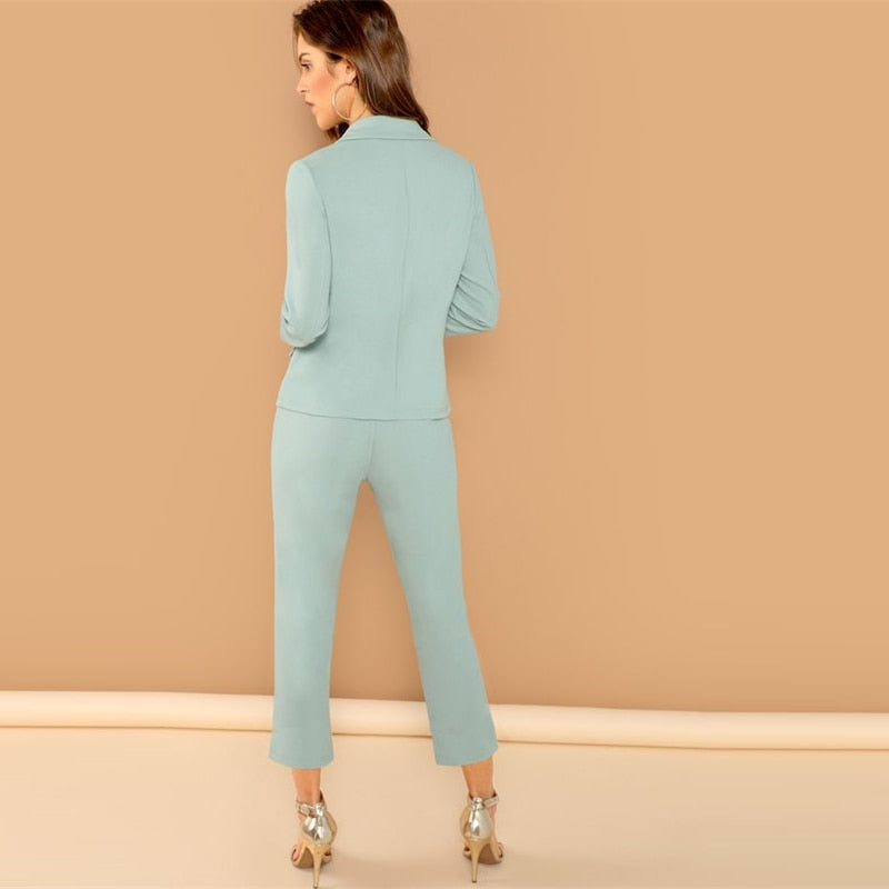 Turquoise Double Breasted Pants Suit