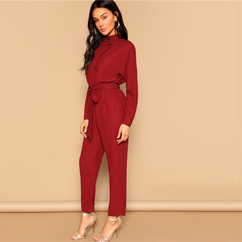 Burgundy Button Jumpsuit