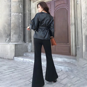 Black PU Leather Long Sleeve