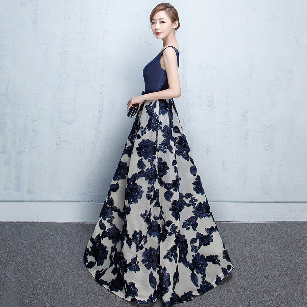 Old Fashioned Long Navy Blue Prom Dress Image - All Wedding Dresses ...