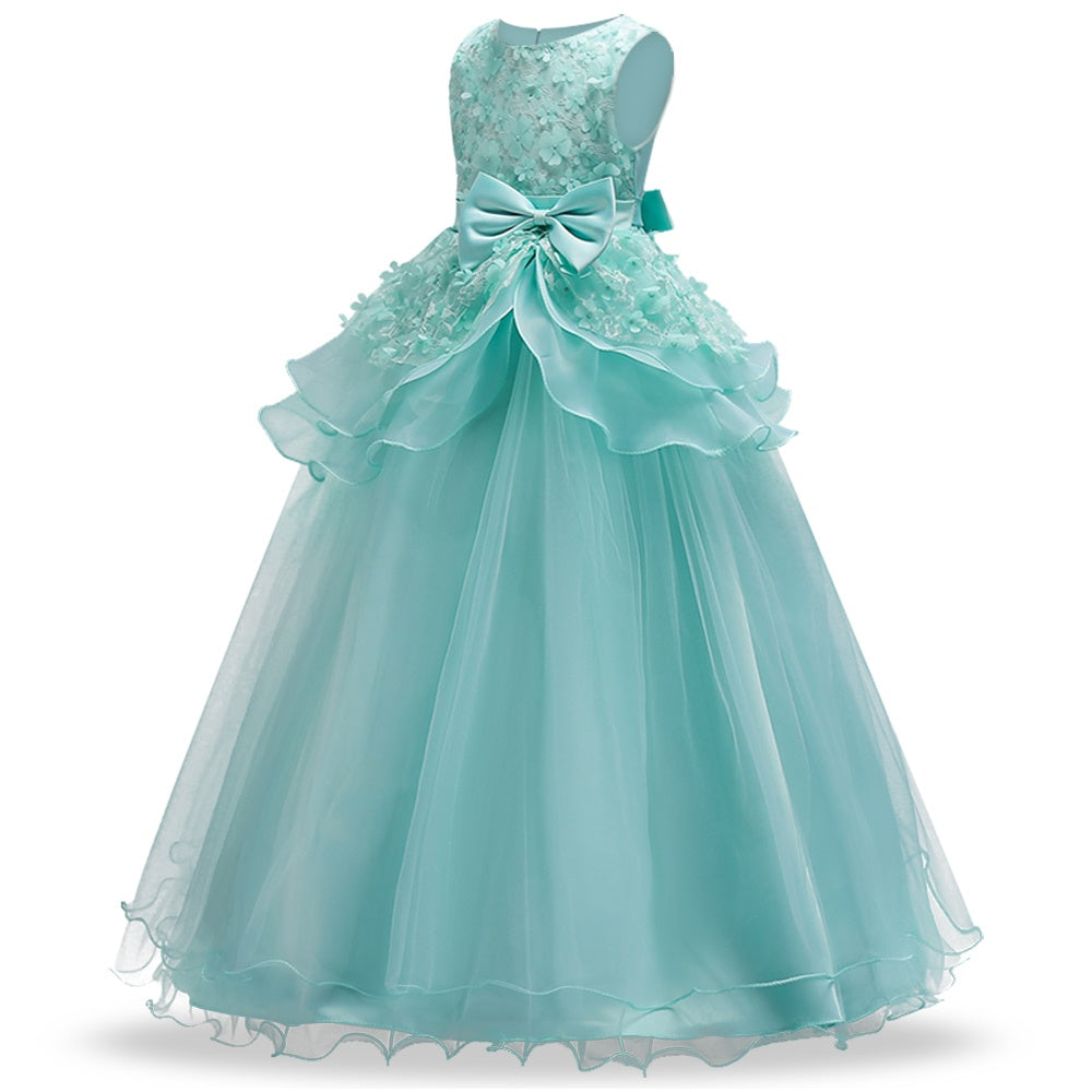 Top Quality Girls Dress Teenager Kids Performance Clothes Flower ...