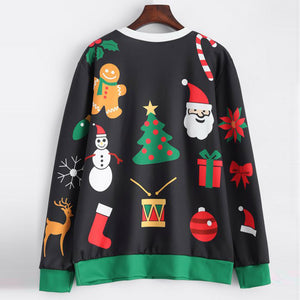 Womens Christmas Long Sleeve Sweatshirt Hooded Pullover Tops Blouse