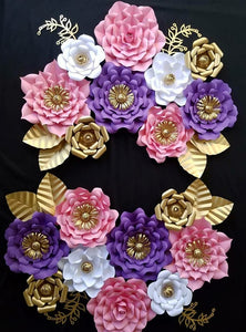 Paper flowers ivory bean pink white gold and purple paper flowers mightylinksfo