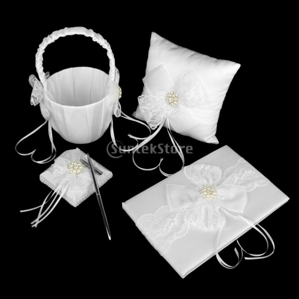 White Lace Bow Ring Pillow Flower Girl Basket Guest Book And Pen