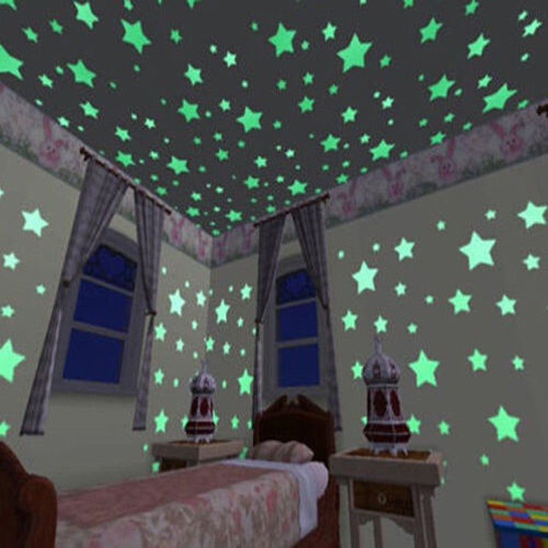 Glowing luminous stars on bedroom ceiling and walls