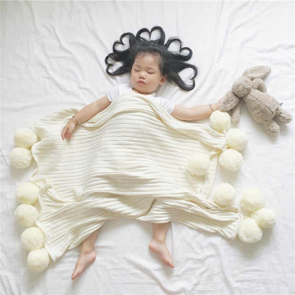 Cotton Baby Blanket with Pom Poms - White, Gray