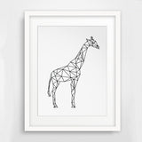 Minimalist Giraffe Geometric Poster (black and white)