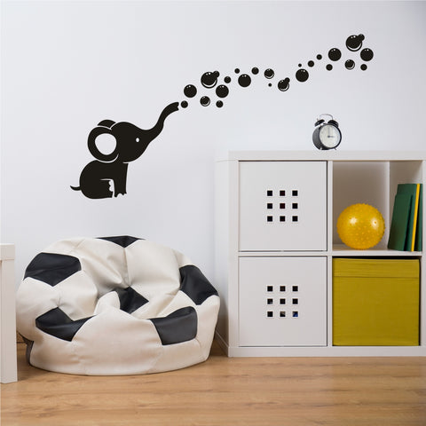 Elephant blowing bubbles - wall decal