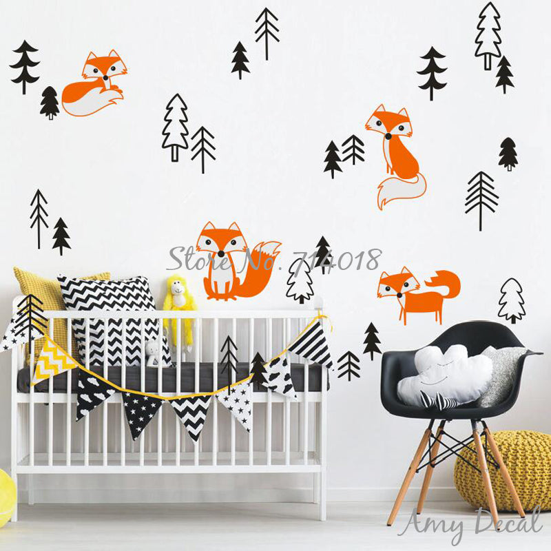 Foxes in the Forest Wall Decal Set