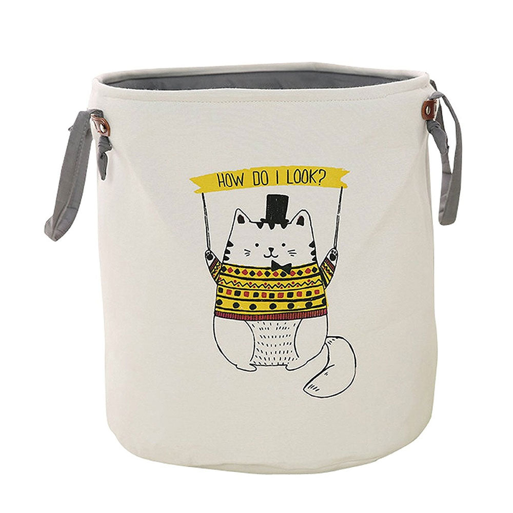 Foldable Round Storage Basket - Yellow Cat