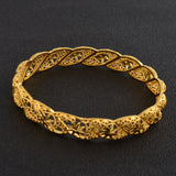 4Pieces/Lot, Gold Color Bangles for Women Dubai Bride Bracelet. 2 size available