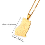 Gold Color Ghana Country Map With State Name Pendant Necklaces