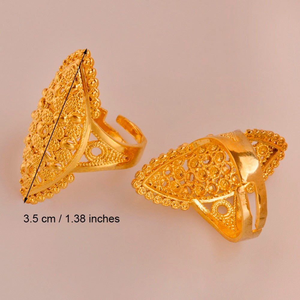 Adjustable Ring Free Size for Women - Gold Color Middle Eastern Style