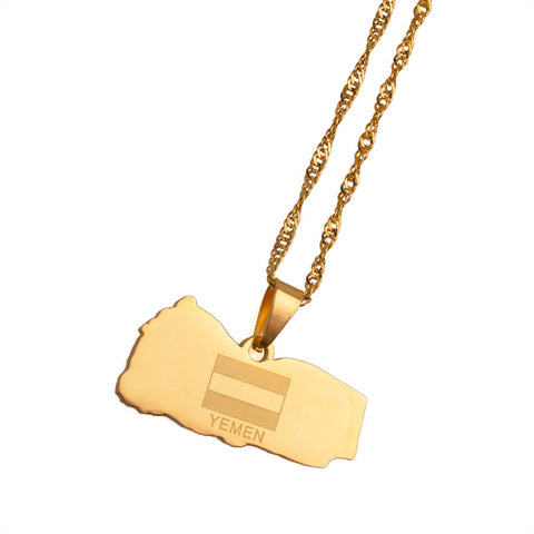 Yemen Map and Flag Necklace Gold Color