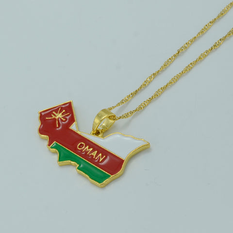 Oman Map/flag pendent with chain