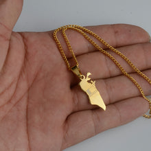 Load image into Gallery viewer, Small Size The Kingdom of Bahrain Map With Flag Gold Color Pendant & Thin chain