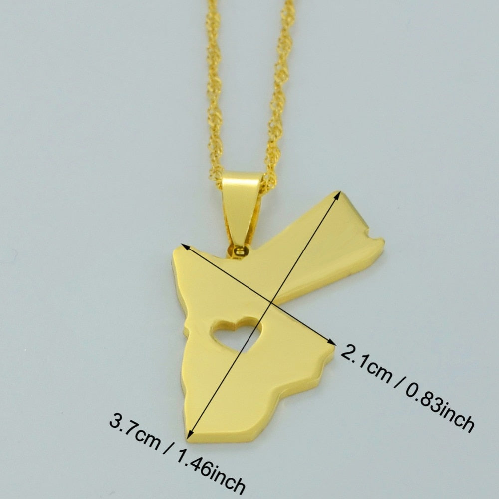 Kingdom of Jordan Map Necklace - Gold Color Pendant Jewelry for Women