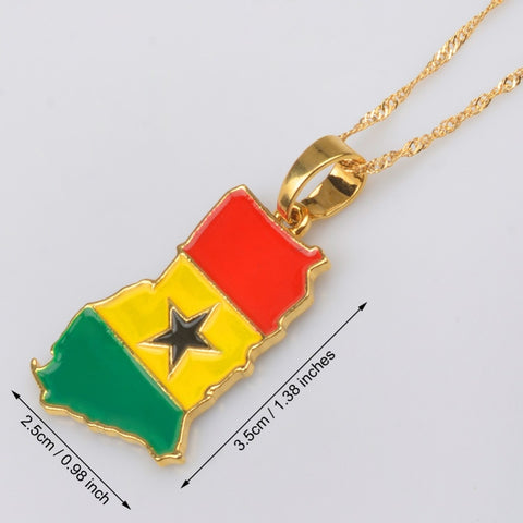 Ghana Map/Flag Pendant Necklace Gold Color with chain