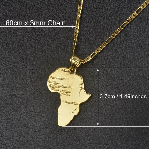 Africa Map Pendant Necklace with chain