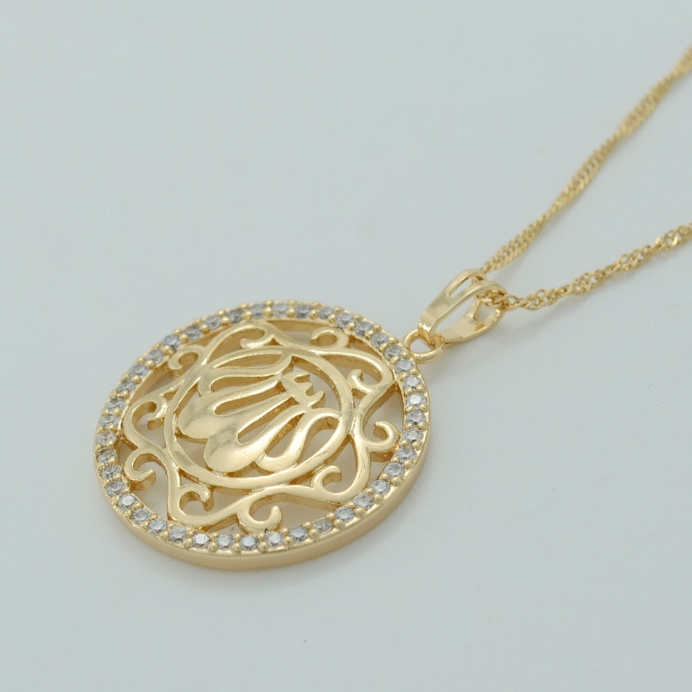 Gold Color Zirconia Allah Necklaces with chain