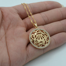 Load image into Gallery viewer, Gold Color Zirconia Allah Necklaces with chain