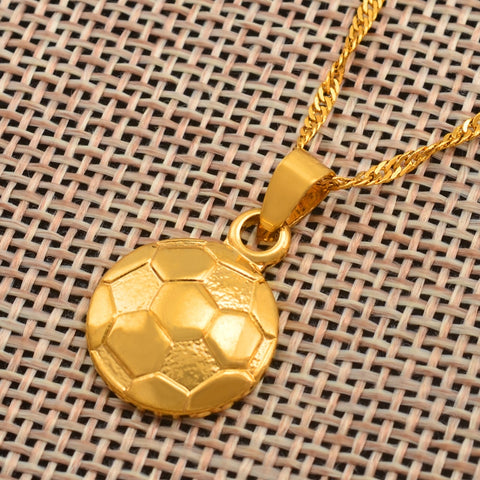 Soccer/Football Necklace Pendant Gold Color with chain