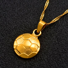 Load image into Gallery viewer, Soccer/Football Necklace Pendant Gold Color with chain