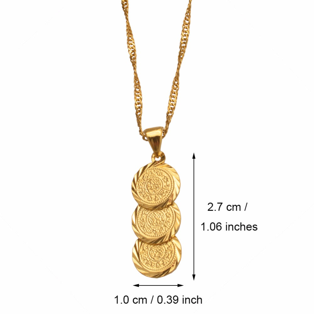 3 Coin Pendant and Chain Necklaces