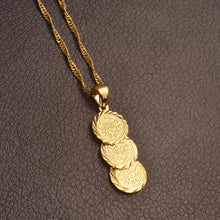 Load image into Gallery viewer, 3 Coin Pendant and Chain Necklaces