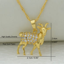 Load image into Gallery viewer, Goat Charm Pendant Necklace for Women,With Cubic Zirconia