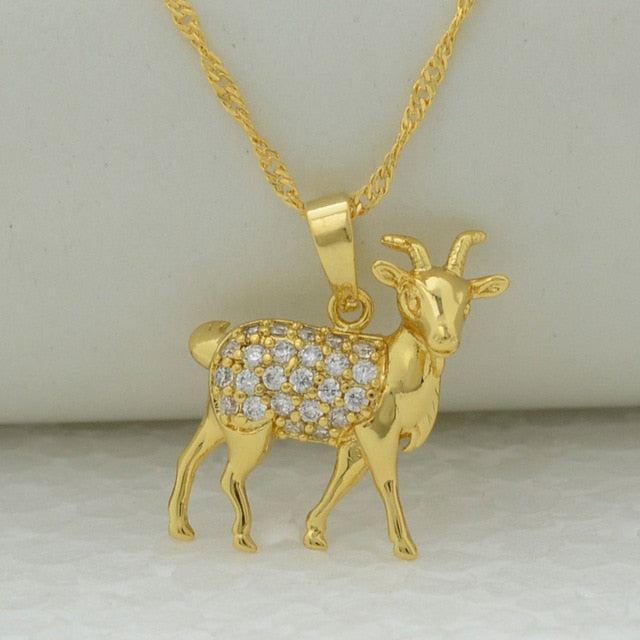 Goat Charm Pendant Necklace for Women,With Cubic Zirconia
