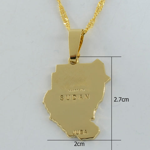 Original Old Sudan Map Necklace Pendant Gold Color