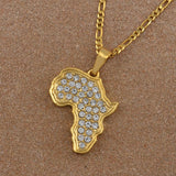 Africa Map Pendant Necklace Women/Men Gold Color With Rhinestone