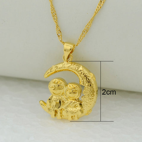 loving couple sitting on the moon pendant necklaces women gold color