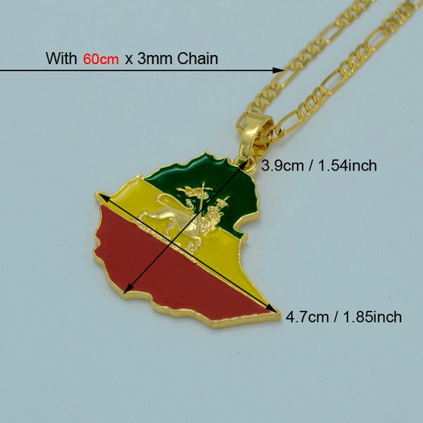 Ethiopian Map & Lion Flag Pendant High-Quality Gold Chain Necklace for Women