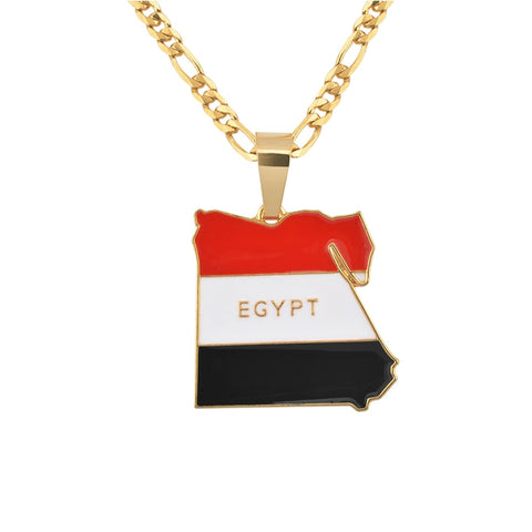 Egypt Map & Flag Colored Necklace Pendant.
