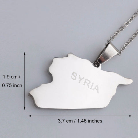 Syria Map Necklaces Stainless Steel Charm Pendant