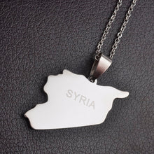 Load image into Gallery viewer, Syria Map Necklaces Stainless Steel Charm Pendant