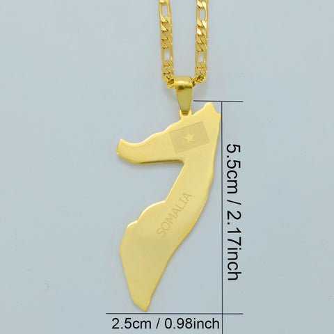 Map of Somalia Pendant Necklaces gold chain