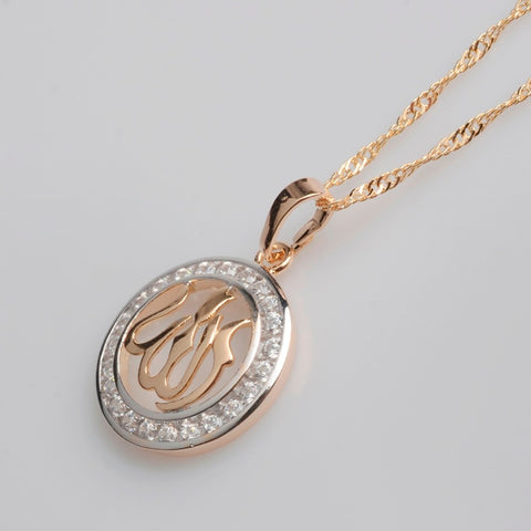 Allah Pendant Necklaces for Women,Cubic Zirconia with chain