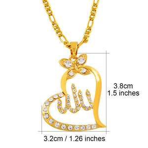 22f6cd60c Allah pendant with heart and rhinestones with chain