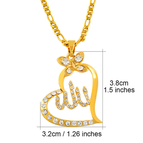 Allah pendant with heart and rhinestones with chain