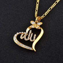 Load image into Gallery viewer, Allah pendant with heart and rhinestones with chain