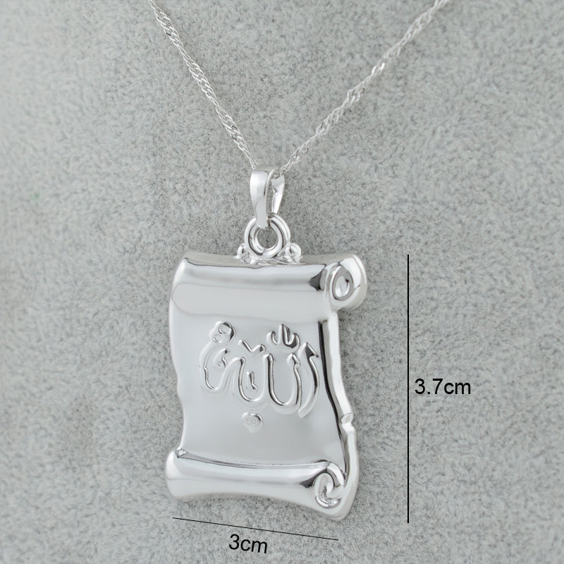 Silver Color Allah Charm Pendant Necklaces with chain